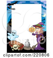 Royalty Free RF Clipart Illustration Of A Halloween Frame Of A Witch Holding A Pumpkin By A Tombstone Skull Coffin And Ghost