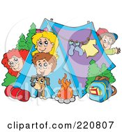 Royalty Free RF Clipart Illustration Of A Happy Group Of Camping Kids And A Dog Looking Out Of And Around A Tent