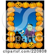 Royalty Free RF Clipart Illustration Of A Halloween Border Of Pumpkins A Haunted House And Frankenstein Over Blue