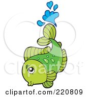 Royalty Free RF Clipart Illustration Of A Cute Green Fish Leaping Out Of Water And Splashing