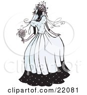 Clipart Picture of a Beautiful Bride Woman In Her Dress, Holding Her Bouquet On Her Wedding Day by Steve Klinkel #COLLC22081-0051