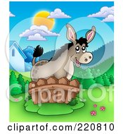 Royalty Free RF Clipart Illustration Of A Cute Donkey By A Fence In A Mountainous Farmland Landscape by visekart