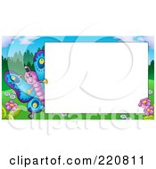 Royalty Free RF Clipart Illustration Of A Cute Butterfly By A Blank White Sign by visekart