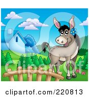 Royalty Free RF Clipart Illustration Of A Cute Female Donkey In A Mountainous Farm Landscape by visekart