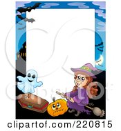 Royalty Free RF Clipart Illustration Of A Halloween Frame Of A Witch Riding A Broom By A Pumpkin Coffin Ghost And Haunted House
