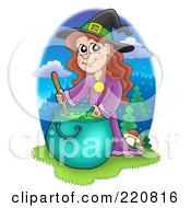 Cute Halloween Witch Mixing A Spell In A Cauldron And Smiling