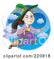 Royalty Free RF Clipart Illustration Of A Cute Halloween Witch Flying With A Book Through A Night Sky