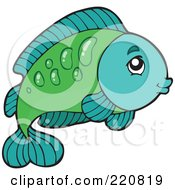 Royalty Free RF Clipart Illustration Of A Cute Green And Turquoise Fish Leaping