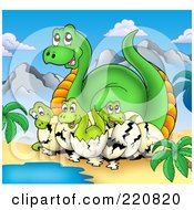 Royalty Free RF Clipart Illustration Of Hatcing Dinosaurs And Their Mom By Water