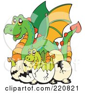 Royalty Free RF Clipart Illustration Of A Mother Dragon By Hatching Babies