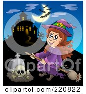 Royalty Free RF Clipart Illustration Of A Witch Flying Near A Haunted House With Bats In The Sky