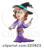 Royalty Free RF Clipart Illustration Of A Cute Halloween Witch In A Purple Robe Holding A Magic Wand