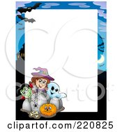 Royalty Free RF Clipart Illustration Of A Halloween Frame Of A Vampire Witch And Ghost Looking Over Tombstones And A Pumpkin