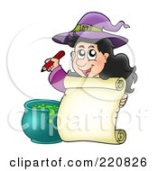 Royalty Free RF Clipart Illustration Of A Cute Halloween Witch Holding A Pencil By A Blank Parchment Page And Cauldron