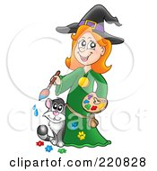 Royalty Free RF Clipart Illustration Of A Cute Halloween Witch And Her Cat With Paints
