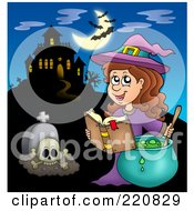 Royalty Free RF Clipart Illustration Of A Witch Making A Spell Near A Haunted House With Bats In The Sky