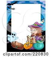 Royalty Free RF Clipart Illustration Of A Halloween Frame Of A Witch Making A Spell By A Pumpkin Coffin Ghost And Haunted House