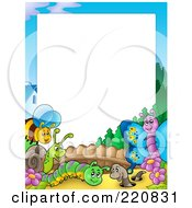 Royalty Free RF Clipart Illustration Of A Border Of Happy Insects In A Garden Around White Space