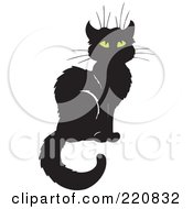 Royalty Free RF Clipart Illustration Of A Sitting Black Cat With Yellow Eyes