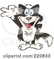 Royalty Free RF Clipart Illustration Of A Happy Border Collie Gesturing Ok by Dennis Holmes Designs