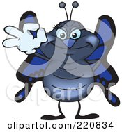 Royalty Free RF Clipart Illustration Of A Happy Butterfly Gesturing Ok by Dennis Holmes Designs