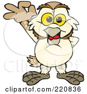 Royalty Free RF Clipart Illustration Of A Happy Barn Owl Gesturing Ok by Dennis Holmes Designs