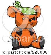 Royalty Free RF Clipart Illustration Of An Orange Pirate Teddy Bear With A Hook Hand