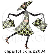 Happy Lady In A Patterned Dress Hat And Heels Waltzing Past And Carrying Two Shopping Bags