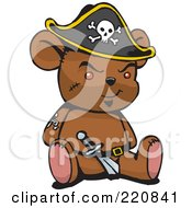 Royalty Free RF Clipart Illustration Of A Brown Pirate Teddy Bear With A Knife In His Belt by Dennis Holmes Designs