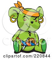 Royalty Free RF Clipart Illustration Of A Green Pirate Teddy Bear With A Pistol In His Belt