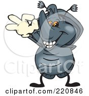 Royalty Free RF Clipart Illustration Of A Happy Rhino Beetle Gesturing Ok by Dennis Holmes Designs