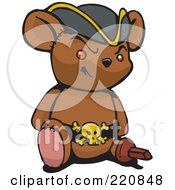 Brown Pirate Teddy Bear With A Peg Leg