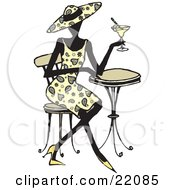 Clipart Picture Of A Fashionable Woman In Heels A Paisley Dress And Matching Hat Seated At A Cafe Table And Sipping A Cocktail