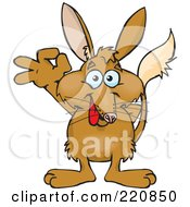 Royalty Free RF Clipart Illustration Of A Happy Bilby Gesturing Ok by Dennis Holmes Designs
