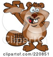 Royalty Free RF Clipart Illustration Of A Happy Beaver Gesturing Ok by Dennis Holmes Designs