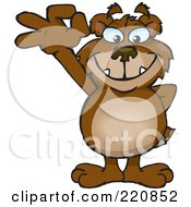 Royalty Free RF Clipart Illustration Of A Happy Bear Gesturing Ok by Dennis Holmes Designs