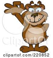 Royalty Free RF Clipart Illustration Of A Happy Bear Gesturing Ok by Dennis Holmes Designs