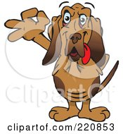 Royalty Free RF Clipart Illustration Of A Happy Bloodhound Gesturing Ok by Dennis Holmes Designs
