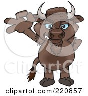 Royalty Free RF Clipart Illustration Of A Happy Bison Gesturing Ok by Dennis Holmes Designs