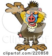 Royalty Free RF Clipart Illustration Of A Happy Baboon Gesturing Ok by Dennis Holmes Designs