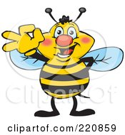 Royalty Free RF Clipart Illustration Of A Happy Bee Gesturing Ok by Dennis Holmes Designs