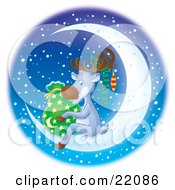 Cute Reindeer Wearing Ornaments On His Antlers Holding Santas Sack Of Toys And Sitting On A Bright Crescent Moon On A Snowy Winter Night