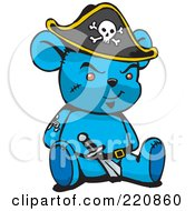 Royalty Free RF Clipart Illustration Of A Blue Pirate Teddy Bear With A Knife In His Belt