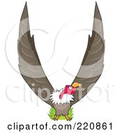 Royalty Free RF Clipart Illustration Of A Vulture With His Wings In The Shape Of A V by Maria Bell