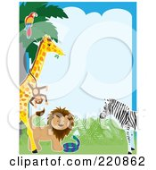 Royalty Free RF Clipart Illustration Of A Border Of A Parrot In A Tree Monkey On A Giraffe Lion Snake And Zebra by Maria Bell