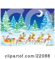 Santas Reindeer Pulling St Nicholas And Presents In A Sleigh Through A Forest Of Snow Flocked Evergreen Trees Under A Crescent Moon On A Snowy Winter Night