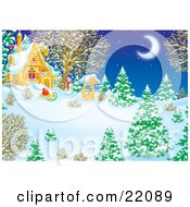 Clipart Illustration Of A Winter Wonderland Of Snow Flocked Evergreen And Bare Trees A Well Sled And Snowman Under The Light Of A Crescent Moon In The Yard Of A House