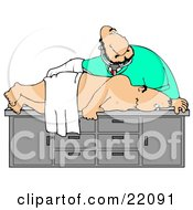 White Male Medical Doctor In Scrubs Bending Over And Giving A Middle Aged Man A Colon Exam During A Physical