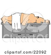 Clipart Illustration Of A Nude White Man Draped In A Towel Lying On His Side On An Exam Table Witing For A Physical