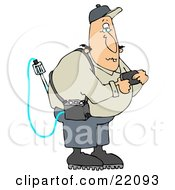 Clipart Illustration Of A White Man Reading A Gas Detector Pager While Working On The Job